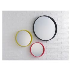 AIMEE Yellow round wall mirror D41cm