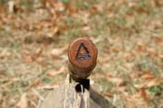 Plum Wood Wand Air Symbol Pyrography OOAK by SpidertreeEmporium