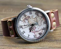 Men Woman Watch Vintage Map,World Map Watch - Leather Wrist Watch - Jewelry World Map Watch on Etsy, $10.99
