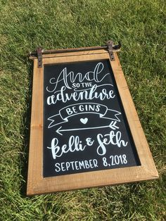 Wedding chalkboard congratulations date calligraphy antique vintage chalk art script hand lettering Chalkboard Wedding, And So The Adventure Begins, Calligraphy Art, Chalk Art, Hand Lettering, Script, Congratulations, Crafty, Antiques