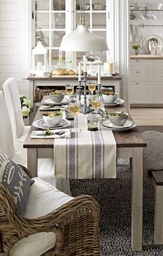 Neutral Gray Tablescape....love those candlesticks