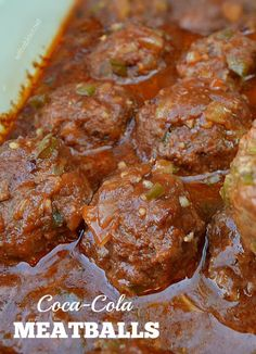 Coke Cola Meatballs - Comforting, rich, tangy and saucy Coca-Cola Meatballs - my family's favorite dinner choice ! Serve over pasta, rice or mashed potatoes Crock Pot Recipes, Amish Recipes, Potluck Recipes, Meat Recipes, Appetizer Recipes, Cooking Recipes, Freezer Recipes, Appetizers, Kitchen Recipes