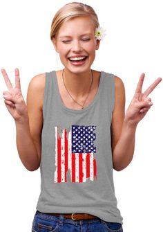 Torn American Flag women Designer Tank Top shirt print tee plus graphic USA 4th july cheap deal vintage sexy
