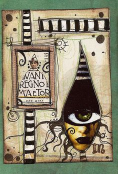 ATC by crazyfish_666 #atc Could also make a Halloween art journal page!