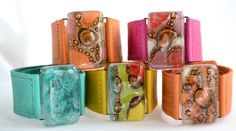 Brazaletes Cuero y Vidrio, Cristálida  Leather and Glass Bracelets