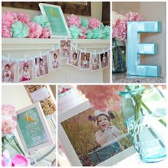 First birthday party pink and aqua. Monthly banner. Monkey theme. Aqua mason jars. Keep calm poster. ella-s-first-birthday