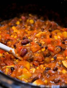 **More photos added September 2014 A variety of vegetables, a rich tomato base, and just the right amount of spice make this vegetarian chili especially delicious. My mom's favorite food is any thing that's packed with vegetables. The more veggies, the better!She loves her pizza piled high with more vegetables than you could even imagine, …