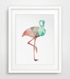 Flamingo Art Mint and Coral Flamingo Print by MelindaWoodDesigns #Flamingoprints