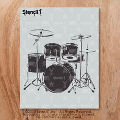 Beat it! Drum Set stencil by Stencil1. Make t-shirts,babies onesies, any apparel using stencils and fabric paint! $10.99