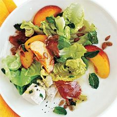Dinner Salad Recipes: Prosciutto, Peach, and Sweet Lettuce Salad | CookingLight.com