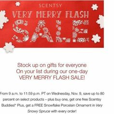 Visit my website @ https://lsigala.scentsy.us for great savings and free stuff today only!