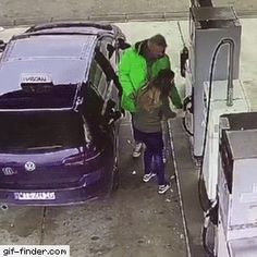 teaching daughter how to pump fuel