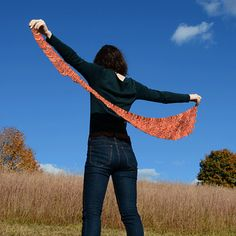 Make this gorgeous wrap with Lion Brand Sock Ease! Find the knit pattern now on Ravelry - Feather Flame by Xandy Peters!