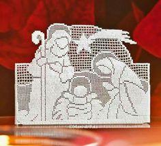 Crochet Christmas Ornaments, Christmas Nativity, Christmas Crochet Patterns, Holiday Crochet, Christmas Embroidery, Crochet Filet, Fillet Crochet, Crochet Motifs, Thread Crochet