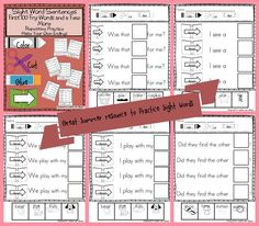 Fry Words, Fry Sight Words, Sight Word Sentences, Teacher Resources, School Resources, Teaching Ideas, Common Core Ela, Kindergarten Lesson Plans, Sight Word Activities