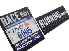 medals & race bibs display!  cool