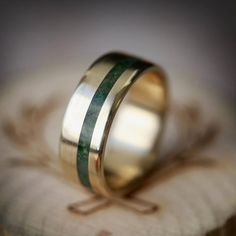 "The ""Vertigo"" - Yellow Gold Ring with Offset Malachite Inlay - Staghead Designs Yellow Gold Rings, White Gold, Rose Gold, Ring Pictures, Wedding Bands, Gold Wedding, Wedding Ring, Antler Wedding, Wedding Attire"