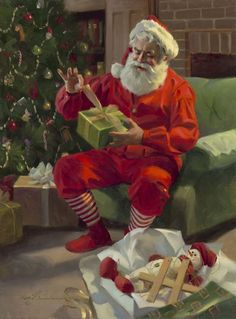 Presents for Santa Canvas Giclee depicts Santa Claus unwrapping a present Christmas Scenes, Noel Christmas, Father Christmas, Christmas Pictures, Xmas, Christmas Clipart, Vintage Christmas Cards, Christmas Posters, Santa Canvas
