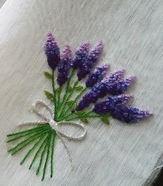 Lavender bunch embroidery