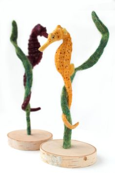 Needle Felted Yellow Seahorse Seahorse by YvonnesWorkshop on Etsy