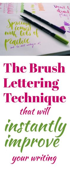 Brush Lettering Tips: 5 Techniques to Instantly Improve Your Lettering In order to really see a definable style emerge as you begin playing with brush pens, you need to master this one brush lettering technique. What's great is that it is super simple! Lettering Brush, Hand Lettering Fonts, Creative Lettering, Hand Lettering Styles, Lettering Ideas, Bibel Journal, Calligraphy Letters, Modern Calligraphy, Learn Calligraphy