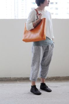 Main cousu washed Leather Tote Bag (version agrandie)