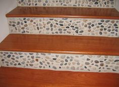 Stair Design Ideas: pebbled tile mosaic stair risers with Brazilian Cherry Wood stairs.   #BrazilianCherry  #pebbledtilemosiac  #stair risers