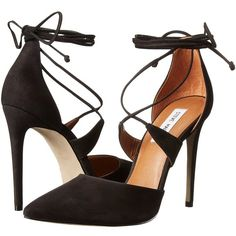 Steve Madden Raela High Heels ($110) ❤ liked on Polyvore featuring shoes, pumps, ankle strap high heel pumps, pointy toe ankle strap pumps, ankle wrap shoes, high heel ankle strap shoes and pointed toe pumps