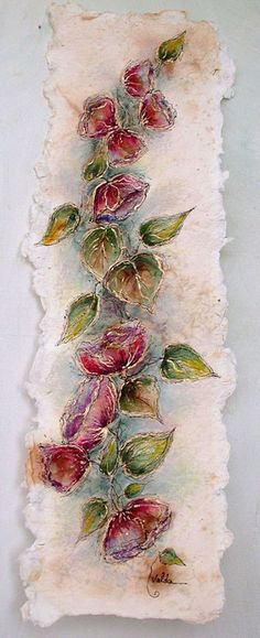 Flowers and leaves 300, 6x22, painting on hand made paper. http://www.etsy/shop/valdasfineart