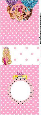 Barbie Escola de Princesas - Kit Completo com molduras para convites, rótulos para guloseimas, lembrancinhas e imagens!