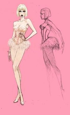"costume sketches for the movie ""Burlesque"""