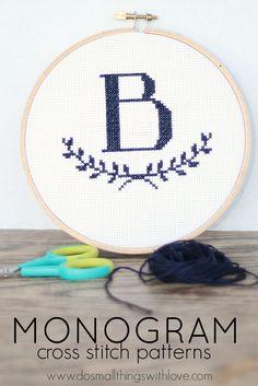 Monogram Cross Stitch Patterns--love that garland detail!