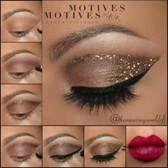 A versatile glitter makeup for the face and body. These lightweight, fine partic. - My best makeup list Makeup List, Eye Makeup Tips, Eyeshadow Makeup, Beauty Makeup, Motives Makeup, Eyeshadows, Hair Beauty, Black Girl Makeup, Makeup For Brown Eyes