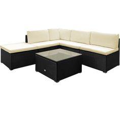 Details About Garden Rattan Furniture Set Outdoor Patio Corner Lounge Sofa  Table Cream Cushion