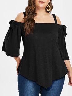 Plus Size Open Shoulder Tie Sleeve Top Plus Sise, Plus Size Tips, Modelos Fashion, Plus Size Blouses, Casual Tops, Casual Shirts, Blouses For Women, Plus Size Outfits, Plus Size Fashion