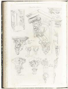 Anonymous | Consoles en kraagstenen, Anonymous, c. 1866 - c. 1900 | Bij de afgebeelde ornamenten staat uitleg geschreven. Midden boven is een grote console met een leeuwenkop te zien die een guirlande in zijn bek houdt.