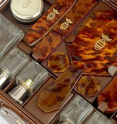 Hermès dug up a beautiful luggage case that was specially designed for the Out of Africa author Karen Blixen. It consumed 368 hours of work and is truly worthy of an aristocrat facing the demanding African landscape.  Note delicate inlays and engraving, with most pieces finished with a baronesses' crown and the author's DBF monogram. Her full title was in fact Baroness Karen von Blixen-Finecke.