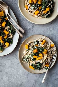 Butternut Kale Pasta with White Wine Cashew Cream - Dishing Up the Dirt