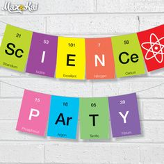 "Printable 'Science' Party Banner Pennant Garland Bunting-Just the ""science"" for a science lab theme room Mad Science Party, Mad Scientist Party, Science Week, Science Fair, Science For Kids, Project Mc2, E Mc2, In Kindergarten, Science Classroom"