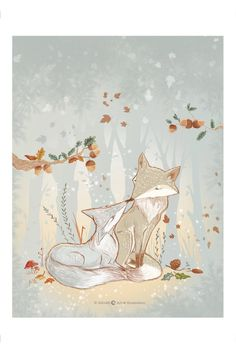Art Print - Foxes in Love Hand sketched & digitally colored original illustration. Print on high quality paper, with smooth...