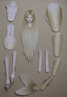 Make Your Own Mermaid - Colouring Sheet Paper Doll Paper Puppets, Paper Toys, Paper Doll Craft, Free Printable Art, Paper Dolls Printable, Coloring Sheets, Coloring Pages, Mermaid Coloring, Paper Crafts Origami