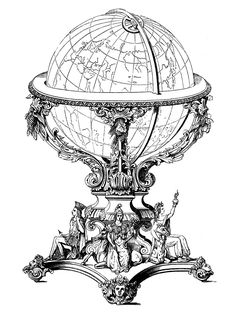 Ornate Globe - Steampunk - The Graphics Fairy