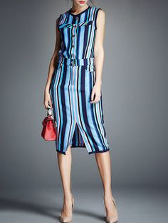 Slit Striped Midi Dress