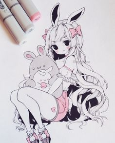BUNNY HUGCEPTION ∠( ᐛ 」∠)_ Man my sleep schedule has been really bad lately. What time do you guys sleep/wake up? Lately I've been sleeping… Anime Drawings Sketches, Anime Sketch, Kawaii Drawings, Manga Drawing, Manga Art, Cute Drawings, Arte Copic, Copic Art, Kawaii Art