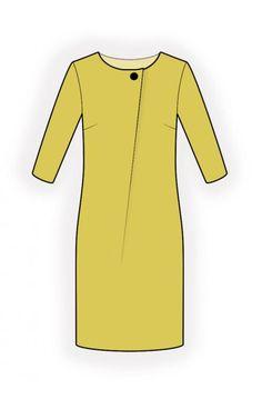 Jurk  - Naaipatroon #4616 Made-to-measure sewing pattern from Lekala with free online download. Iets wijdere pasvorm, Figuurnaden, Pleats, Boothals, Zonder kraag, 1/2 mouwen, Ingezette mouwen, Knielengte, Rechte rok