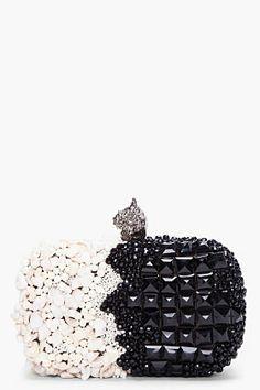 black & white beaded clutch