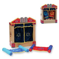 KidKraft Wooden Ark and Torah Play Set   This colorful set is made with children in mind as everything is scaled down perfectly for little hands. Kidkraft™s wooden and plush toys promote imaginative play while creating a timeless, heirloom-quality line that children and their parents - love. Plush torahs are great for kids to carry on Shabbat, Simchat Torah and all Jewish holidays.