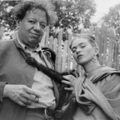 Pretty funny photo of Diago Rivera holding a monkey and Frida Kahlo (who looks a bit like Kate Moss in this picture).