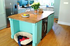 Hand painted kitchen island with solid English oak top