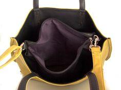 Handmade vegan leather handbag Tote yellow and black -  the Rosaleen  - 20%  launch discount. $119.00, via Etsy.